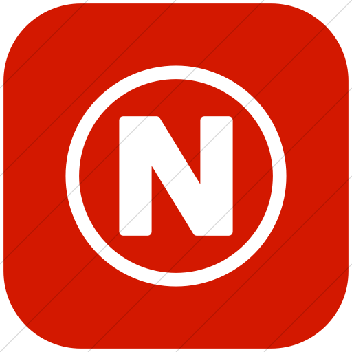 Flat Rounded Square White On Red Encircled Capital N Icon