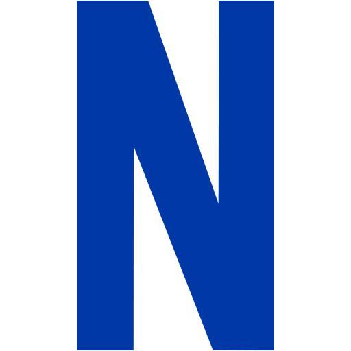 Royal Azure Blue Letter N Icon