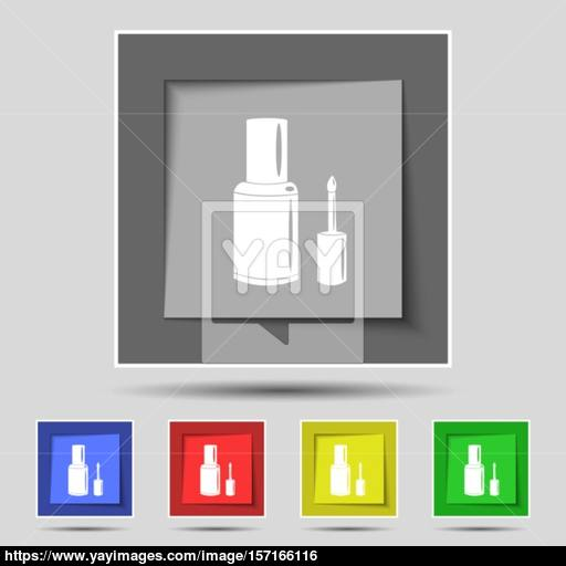 Nail Polish Bottle Icon Sign On Original Five Colored Buttons