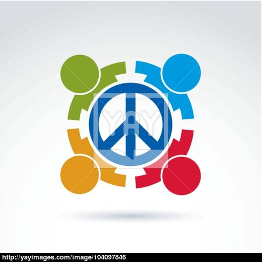 Round Antiwar Vector Icon, No War Symbol People Of All National