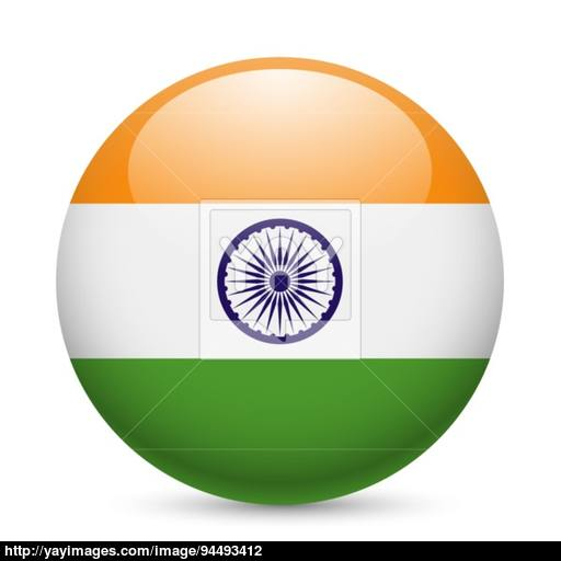 Round Glossy Icon Of India Vector
