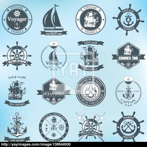 Set Of Vintage Nautical Labels, Icons And Design Elements Vector