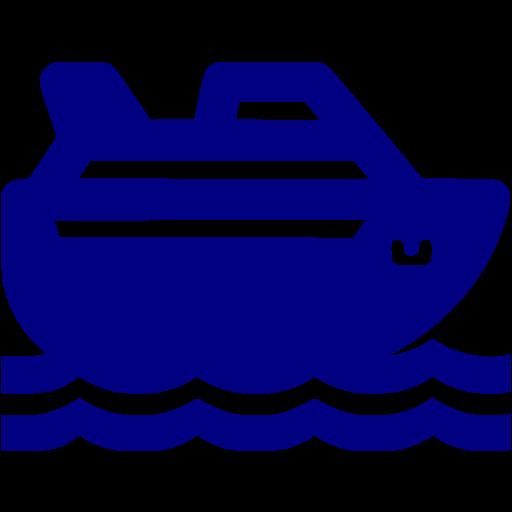 Navy Blue Cruise Ship Icon