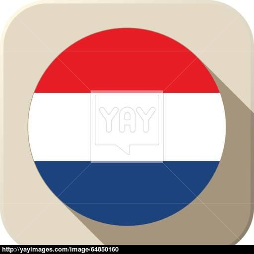 Netherlands Flag Button Icon Modern Vector