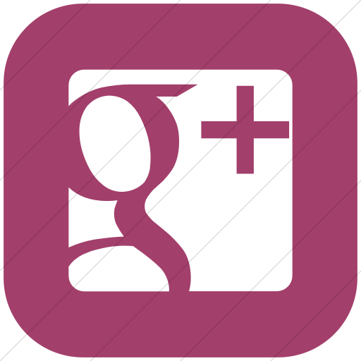 Flat Rounded Square White On Pink Raphael Google Plus Icon