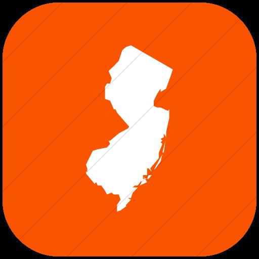 Flat Rounded Square White On Orange Us States New