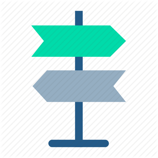 Direction Board, Navigation, Path, Post, Road Sign, Street Sign Icon