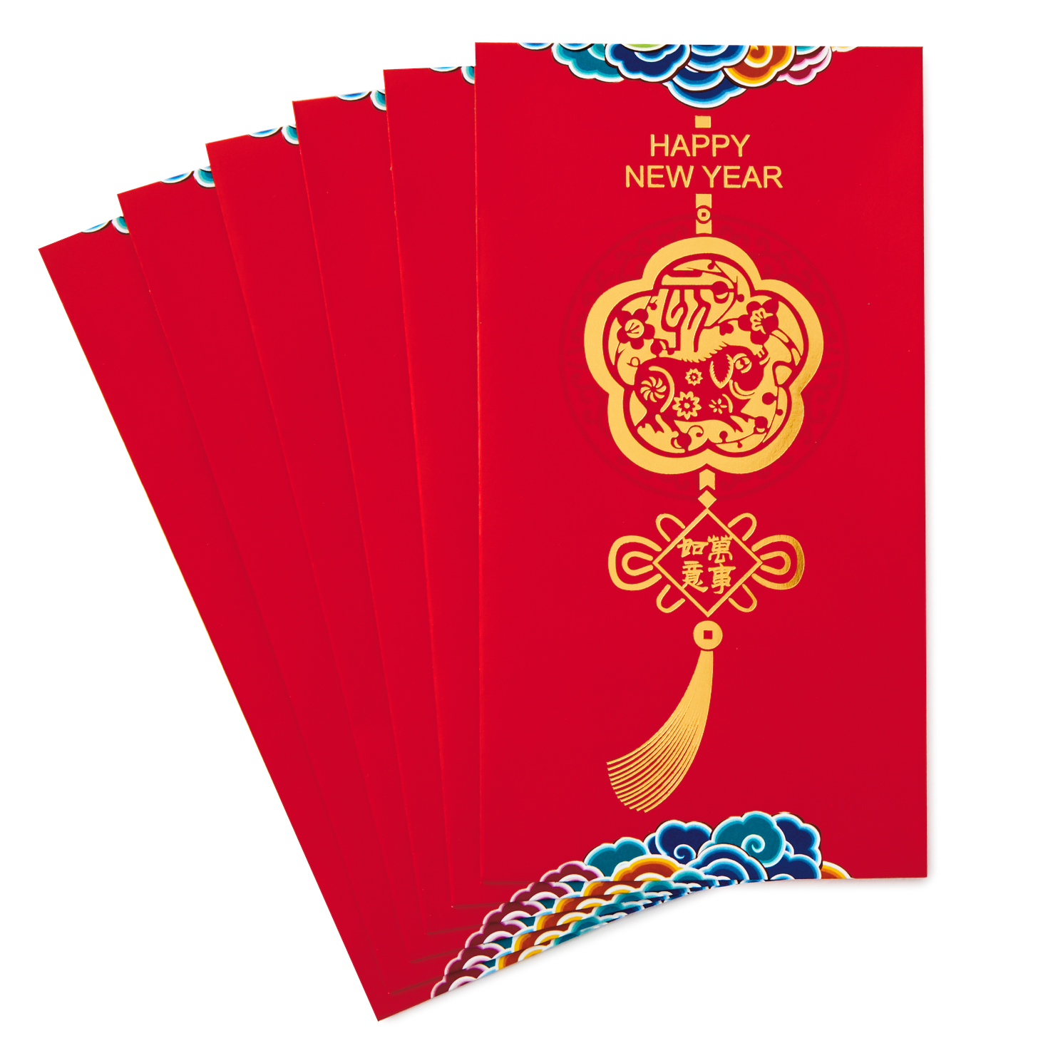 Red Lantern And Puppets Chinese New Year Card