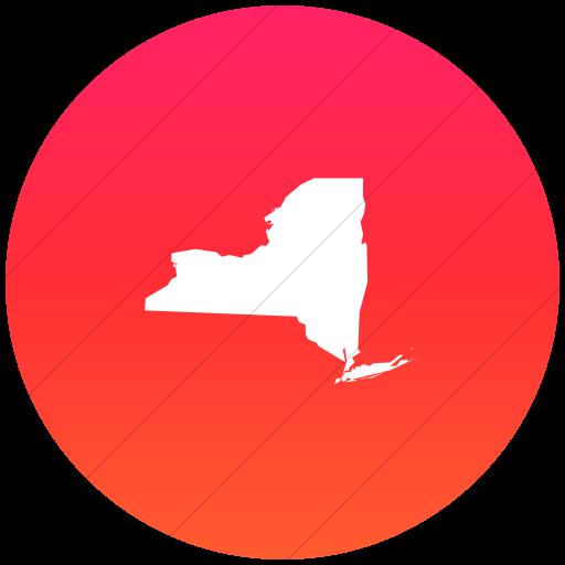 Flat Circle White On Ios Orange Gradient Us States New