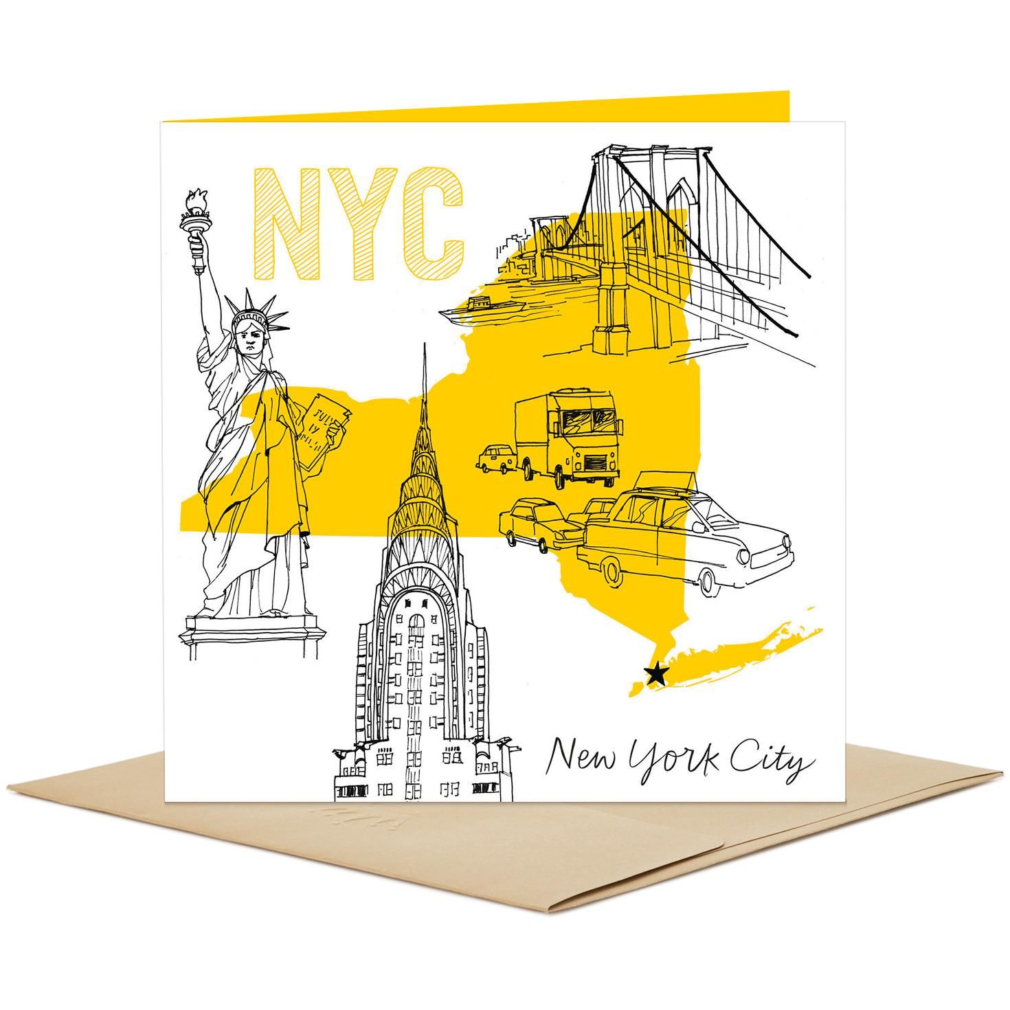 New York City Skyline And Icons Blank Card