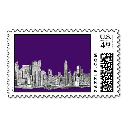 New York Skyline In Purple Stamps New York Skyline Wedding Stamp
