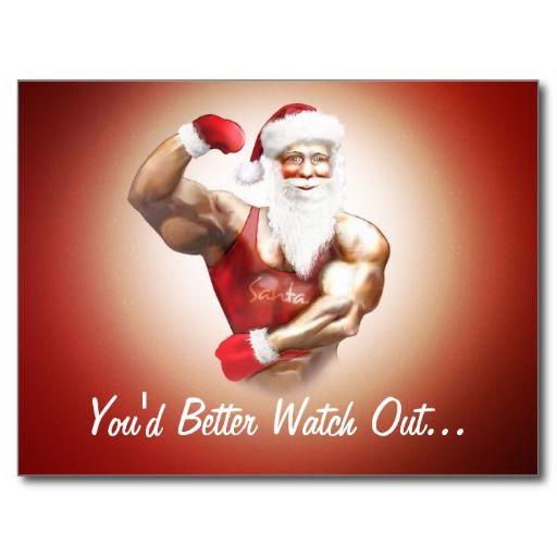 Funny Naughty Strong Muscular Santa Claus Postcard