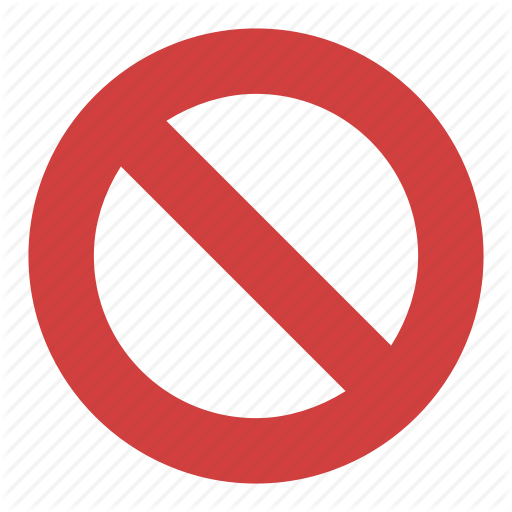 Circle Backslash Symbol, International Prohibition Sign, Nay, No
