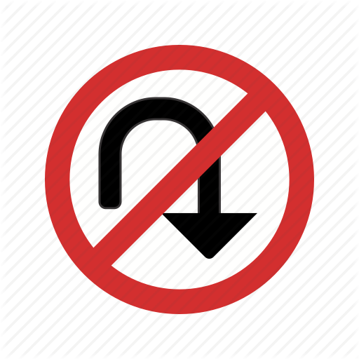 Arrow, No Turn, No U Turn, Sign Icon