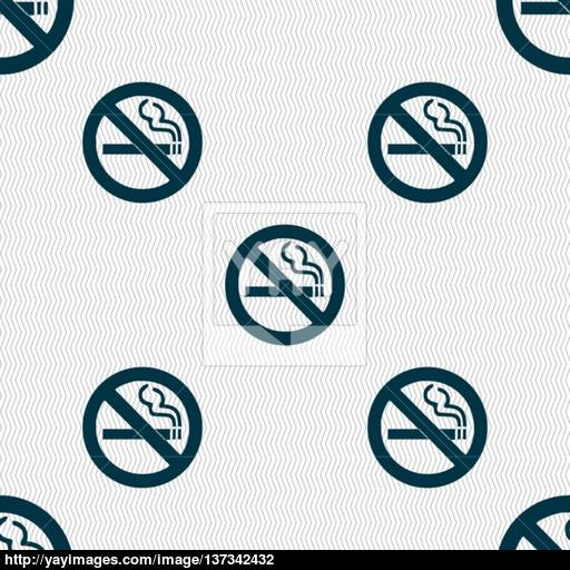 No Smoking Icon Sign Seamless Pattern With Geometric Texture