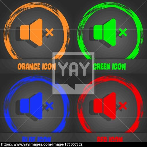 No Volume Icon Fashionable Modern Style In The Orange, Green