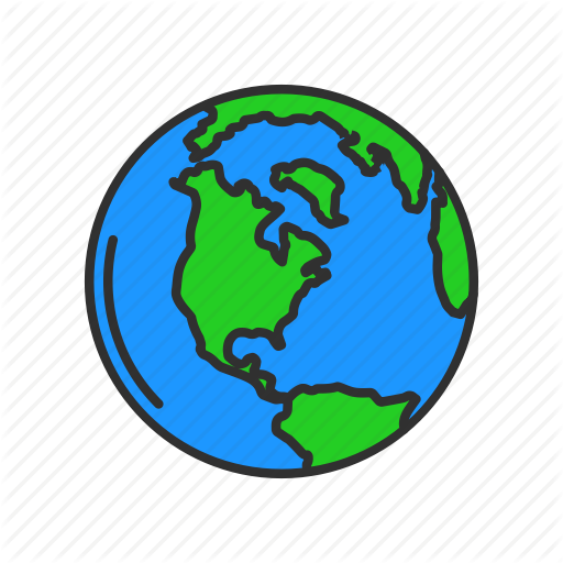 Globe, Map, North America, World Icon