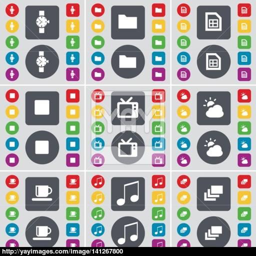 Wrist Watch, Folder, File, Media Stop, Retro Tv, Cloud, Cup, Not