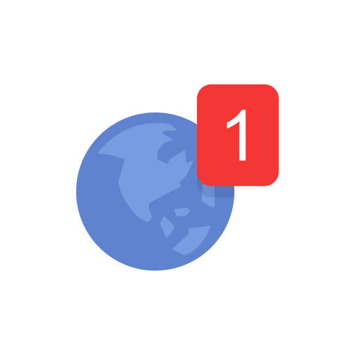 Earth, Globe, Notification, One Notification Icon