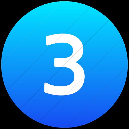 Flat Circle White On Ios Blue Gradient Alphanumerics