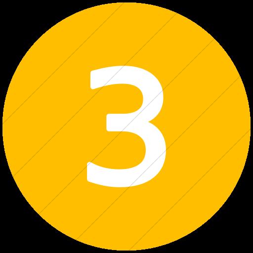 Flat Circle White On Yellow Alphanumerics Number Icon