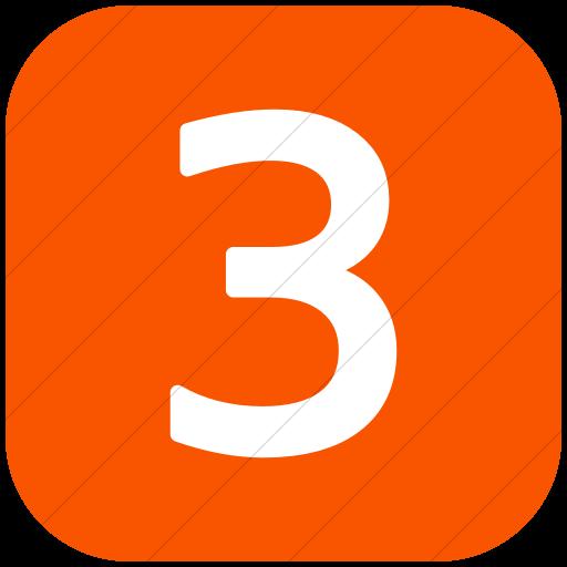 Flat Rounded Square White On Orange Alphanumerics