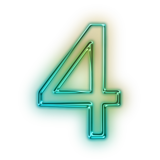 Glowing Green Neon Icon Alphanumeric Number