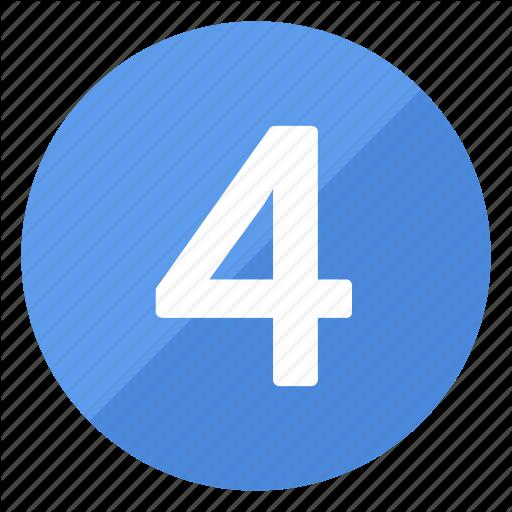 Blue, Circle, Circular, Four, Number, Round Icon