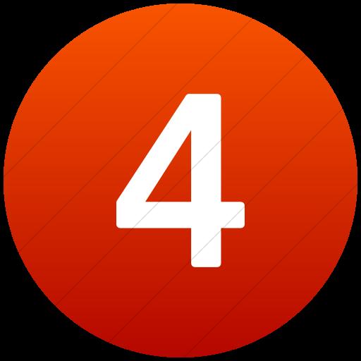 Flat Circle White On Red Gradient Alphanumerics Number