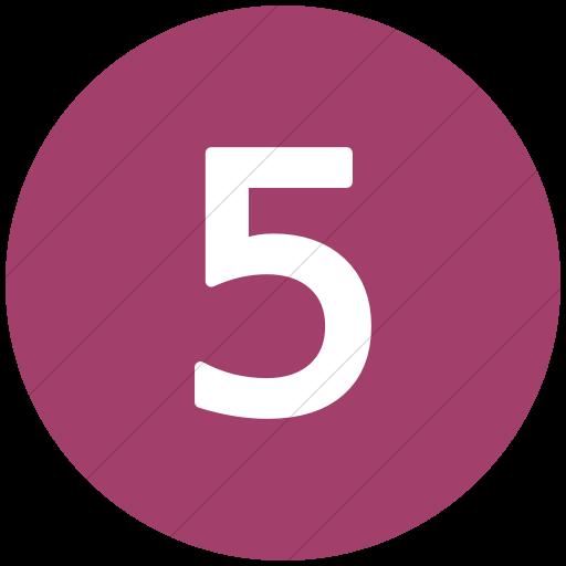 Flat Circle White On Pink Alphanumerics Number Icon