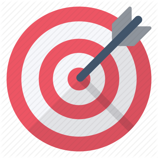 Arrow, Center, Objective, Red, Sign, Target, White Icon