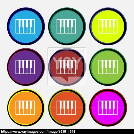 Piano Key Icon Sign Nine Multi Colored Round Buttons Vector