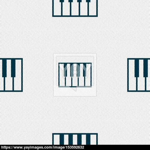 Piano Key Icon Sign Seamless Pattern With Geometric Texture