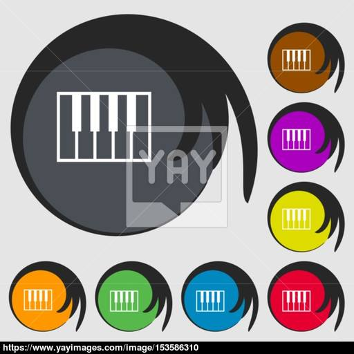 Piano Key Icon Symbols On Eight Colored Buttons Vector Vector