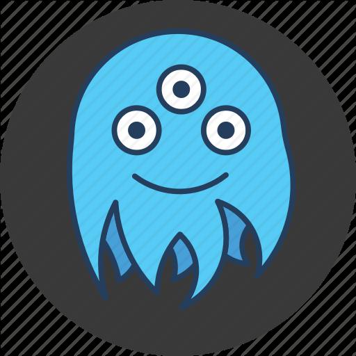 Blue, Cute, Eyes, Fun, Happy, Monster, Octopus Icon