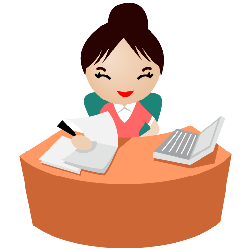 Smiling Female White Collar Workers In Office Icons Download