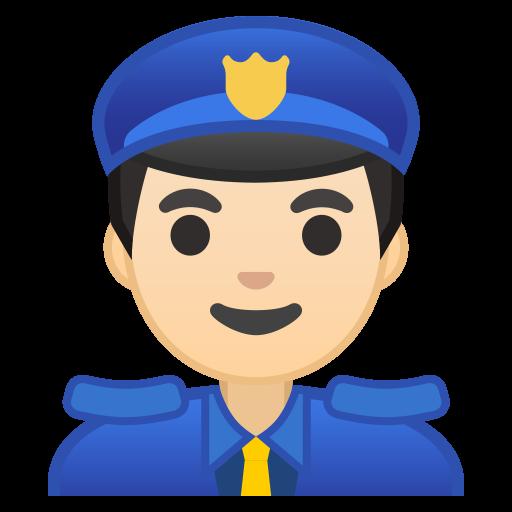 Man Police Officer Light Skin Tone Icon Noto Emoji People