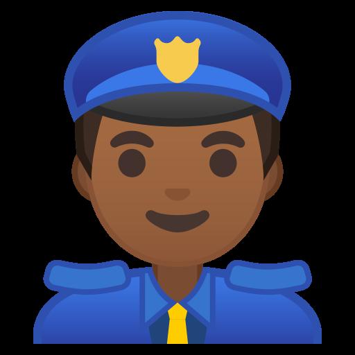 Man Police Officer Medium Dark Skin Tone Icon Noto Emoji People
