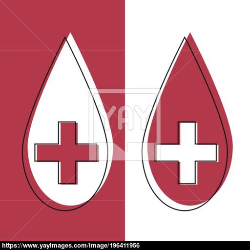 Red Blood Drop Icon In Line Desidn Red Blood Drop Vector