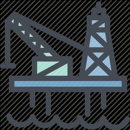 Drilling, Gas, Industry, Ocean Oil Rig, Oil Platform, Sea Icon