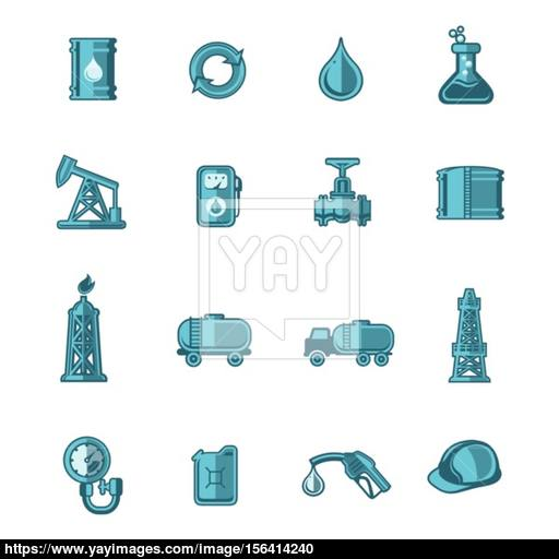 Oil Industry Icons Set Vector