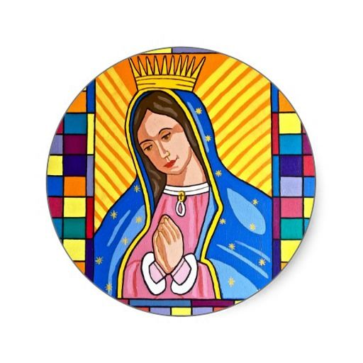 Guadalupe Mexican Virgin Mary Catholic Miracle Round Stickers