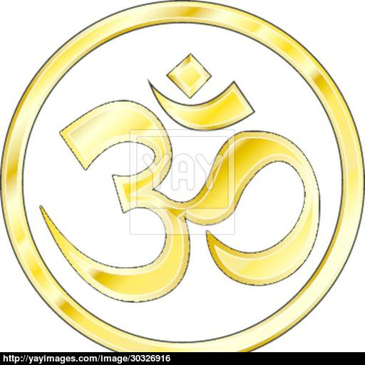 Gold Hindu Om Icon Vector