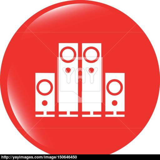 Vector Speaker Button Icon Isolated On White Background Vector