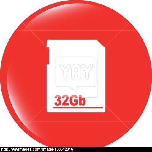 Vector Flash Memory Card Web Button