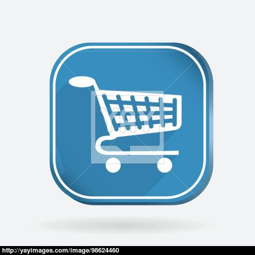 Square Icon, Cart Online Store Vector