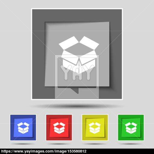 Open Box Icon Sign On Original Five Colored Buttons Vector Vector