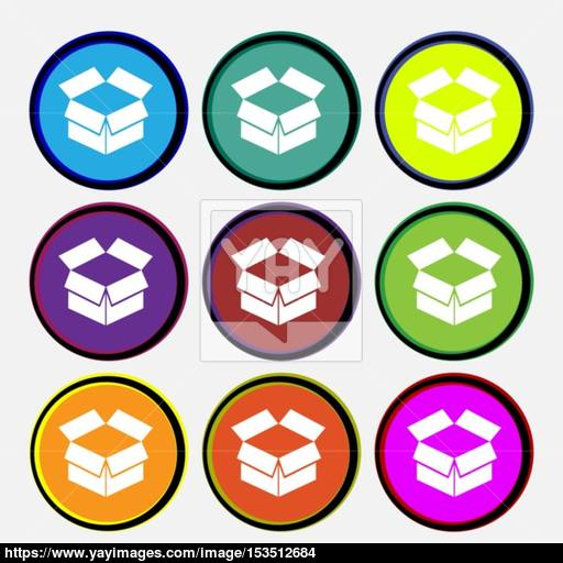 Open Box Icon Sign Nine Multi Colored Round Buttons Vector
