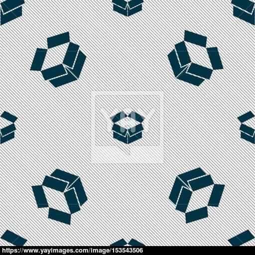 Open Box Icon Sign Seamless Pattern With Geometric Texture
