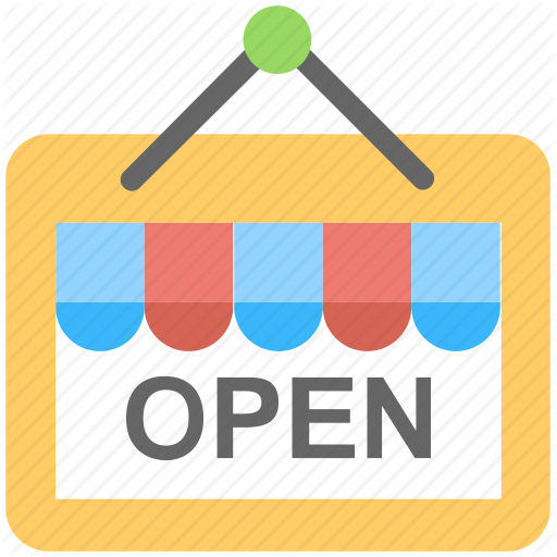 Open, Open Sign, Shop Sign, Signboard, We Are Open Icon
